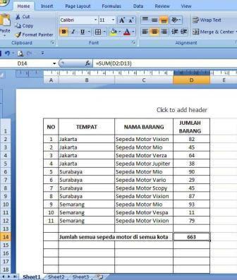 Belajar Fungsi SUM, SUMIF Dan SUMIFS Dalam MS Excel