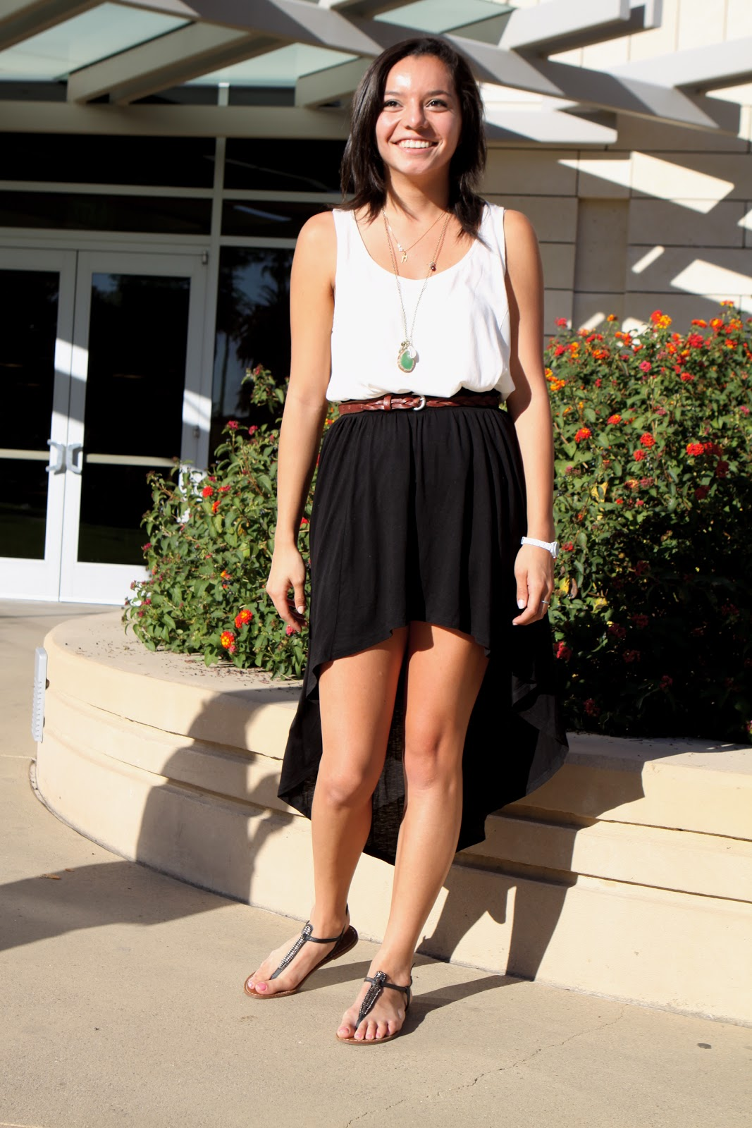 Here in the Northeast we are very jealous of the west coast and its warmer weather which allows SCU student Alejandra to still wear a black mullet dress, a white sleeveless top and sandals in December.