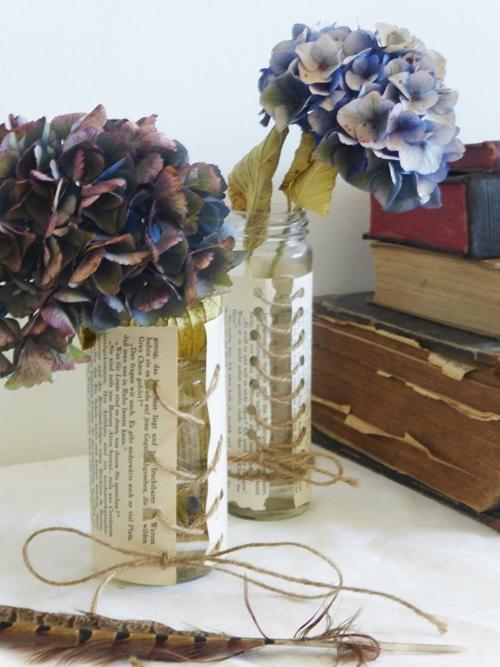 DIY Crafting Papiermanschette Blumenvase Hortensie vintage shabby chic