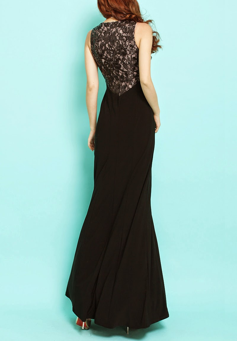 Sequin Look-Like Transparent Lace Back Black Maxi