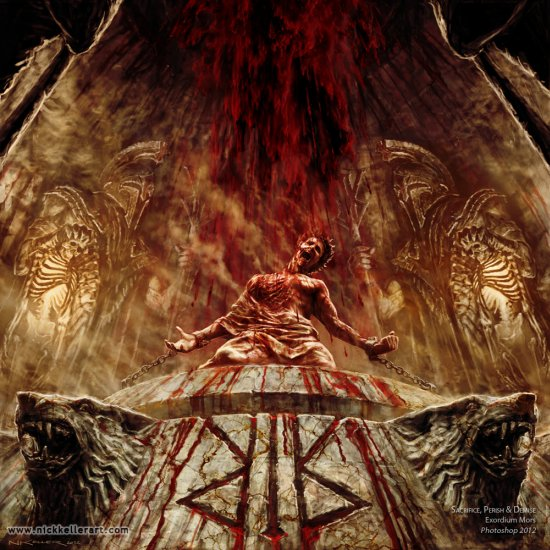 Nick Keller pinturas a óleo fantasia ficção científica terror sombrio surreal infernal cósmico