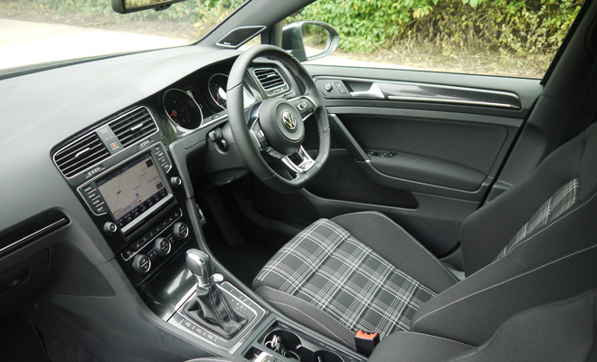 Volkswagen Golf 7 GTD interior with tartan seats