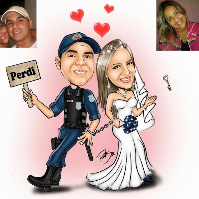 noivo policial com algemas