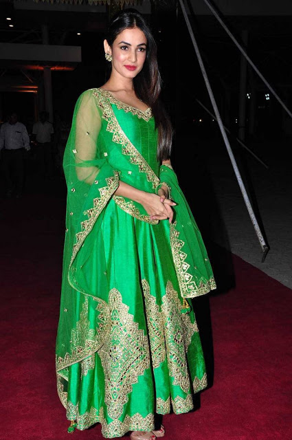 Sonal Chauhan in Green Mirror and Gota Work Embroidery Designer Churidar Salwar Kameez