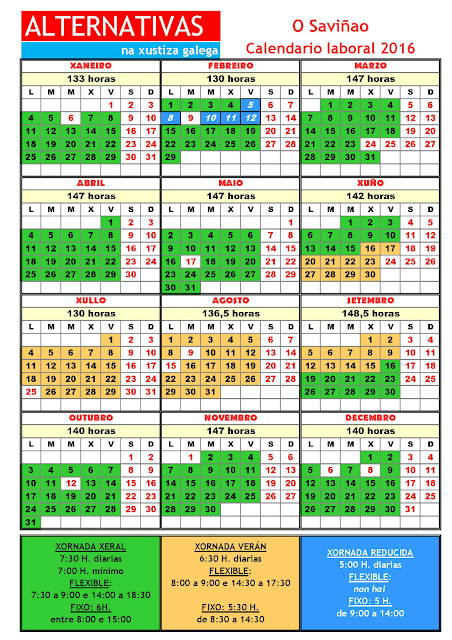 Saviñao. Calendario laboral 2016