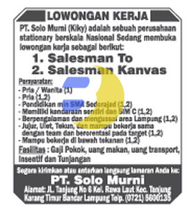 Recruitment PT. Solo Murni Januari 2015