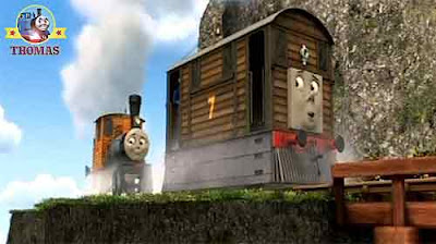 Mountain cliffs Bash could see his friends Thomas the tank engine Dash and Ferdinand logging locos