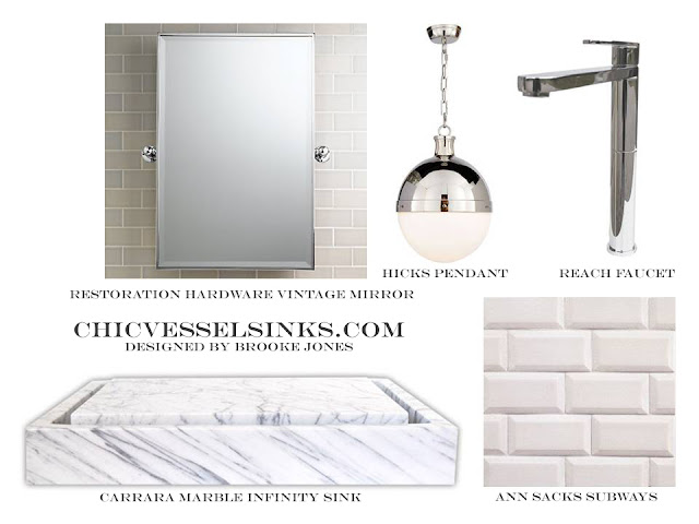 Carrara Marble Infinity Vessel Sink Vintage Mirror Subway Tile Hick Pendant Chrome Faucet