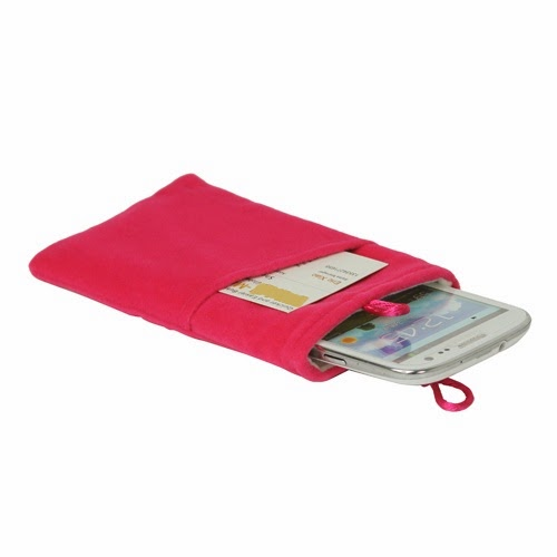 Universal Plush Pouch Bag with Button Closure for Samsung Galaxy S 3 III i9300 S 4 IV i9500 i9505, Size 13.8cm x 8.1cm - Pink