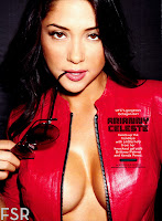 Arianny Celeste cleavage in red leather jacket