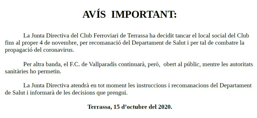 Avís important - 15-OCT-2020