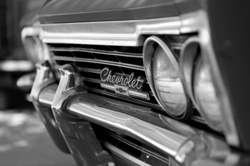 old chevrolet black and white chevy car