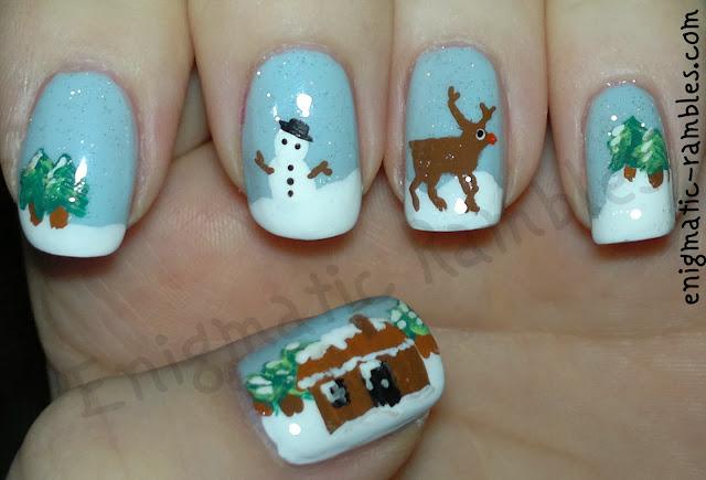 winter-nature-nails-nail-art-snow-reindeer-rudolf-snowman-house-snowing