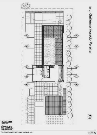 Plano arquitectónico de la planta superior de la casa en Villa Mercedes