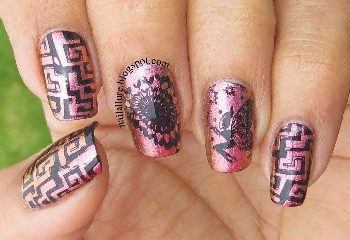Black Stamping manicure on Barry M Mediterranean
