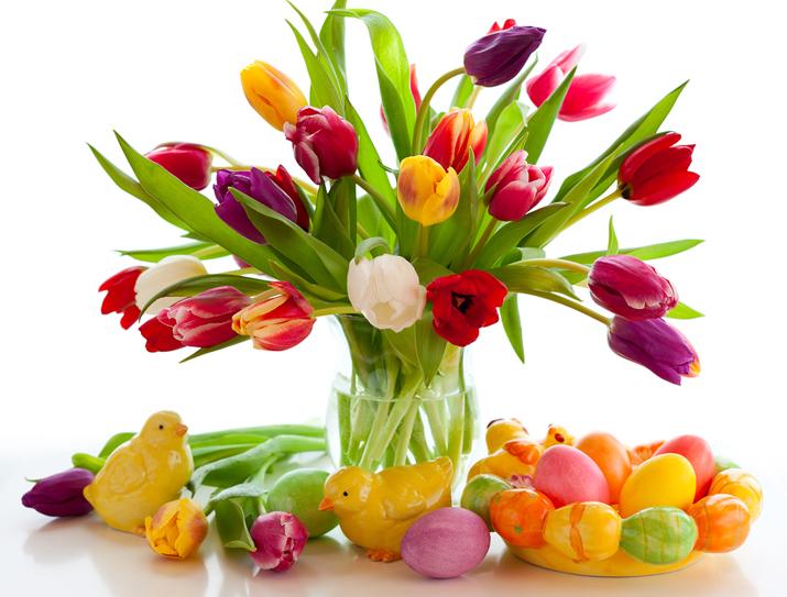 tulipany, święta, Wielkanoc, wiosna, kurczęta, pisanki