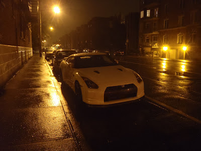 White Nissan GTR Rain
