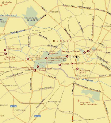 Map of Berlin city in Germany