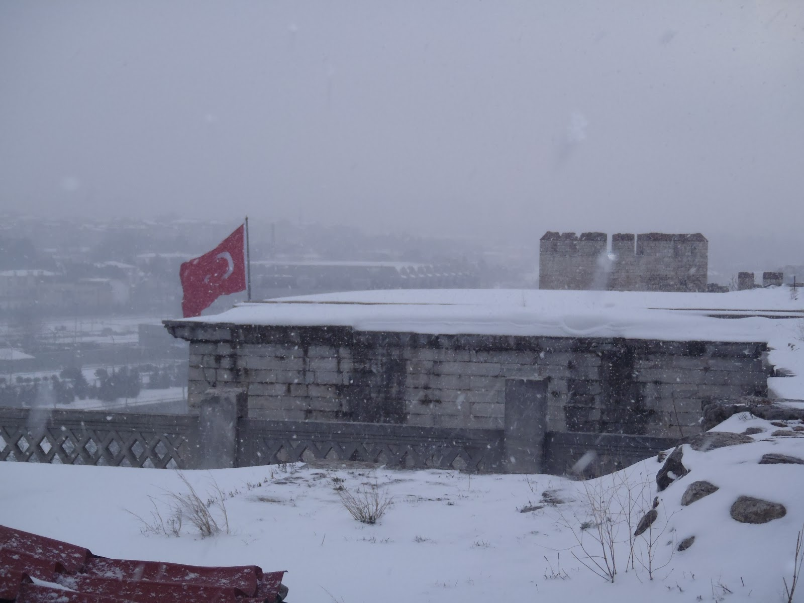 On top of the Golden Gate during a snowstorm, overlooking what was once the Thracian Plains