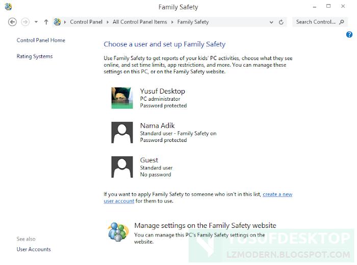 Mengkonfigurasi Family Safety untuk memblokir akses