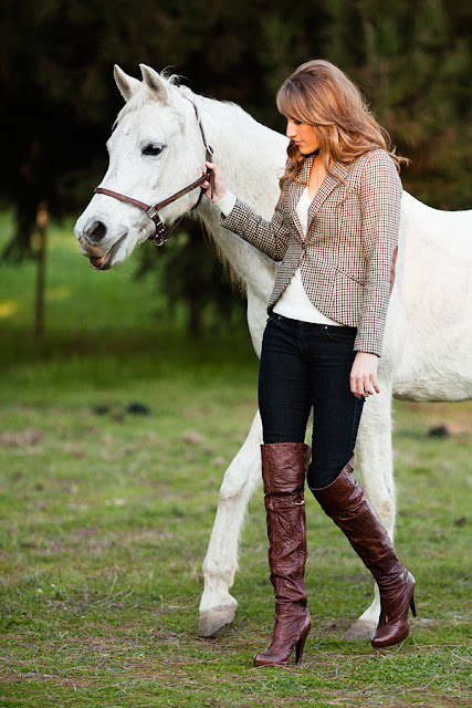 Jody+Steliga%252C+Savvy+Spice+fashion+blog +walking+horse+in+harness%252C+cognac+Report+Signature+boots%252C+H%2526M+blazer