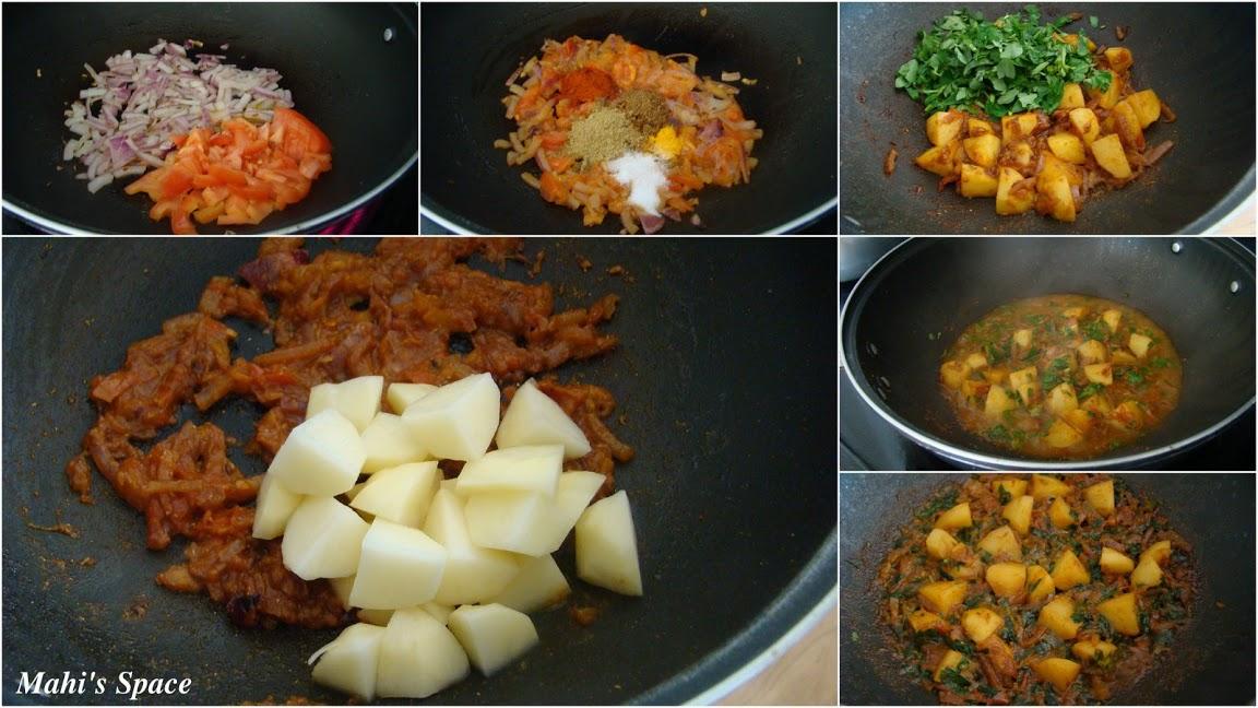 Aaloo Methi / Potatoes with Fenugreek Leaves ~ Mahi's Kitchen