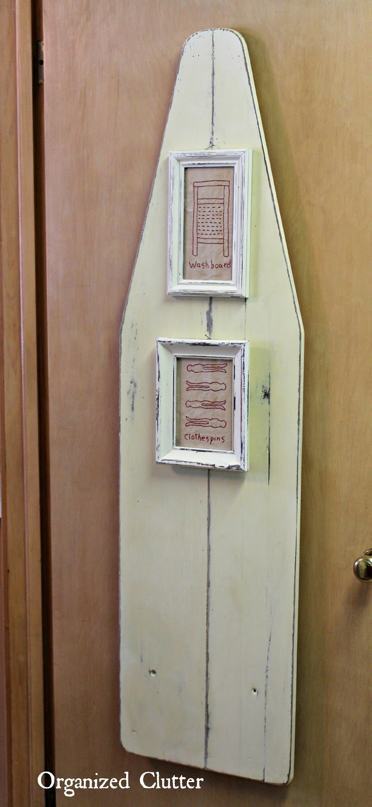 Laundry Room Door Decor - Painted Ironing Board www.organizedclutterqueen.blogspot.com