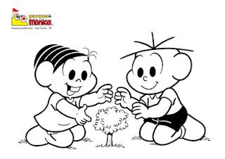 Desenho Para Colorir Dia da Árvore, turma da monica, 21 de setembro dia da árvore