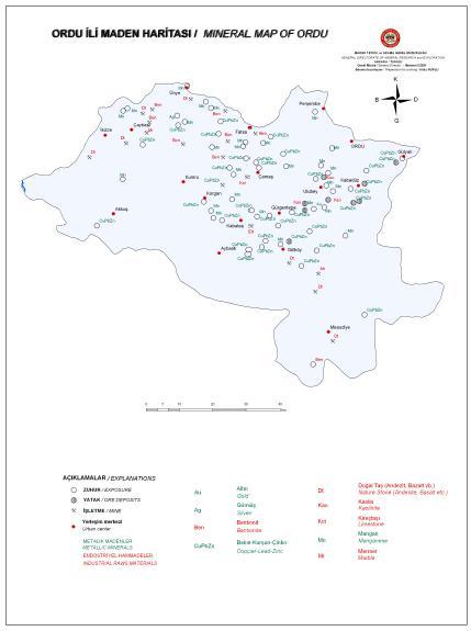 Ordu �li Maden Haritas�