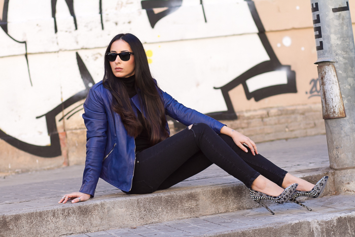 streetstyle blue Carmona leather biker jacket muubaa and Kandee Saint spiked stilettos