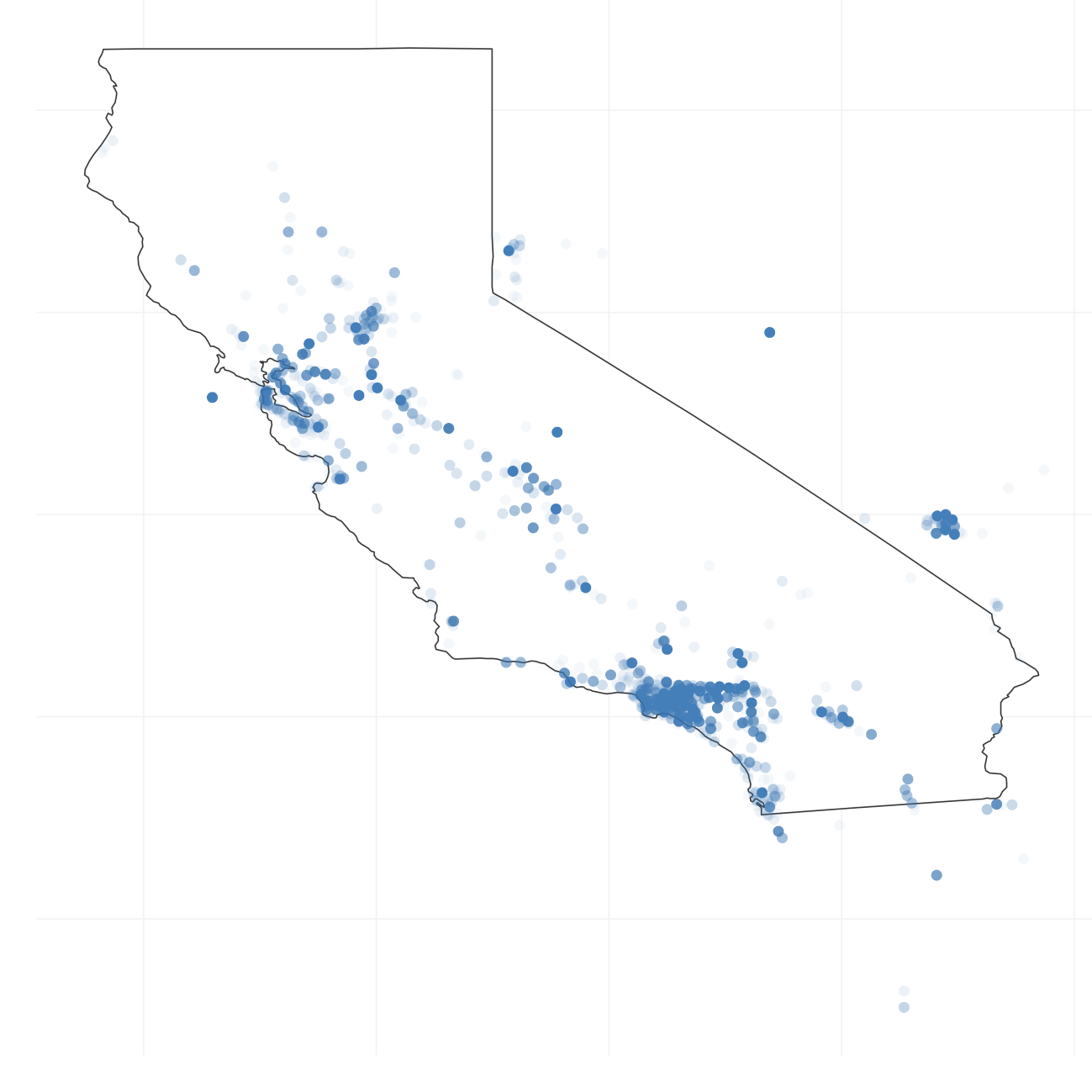 this visualization shows us the spatial distribution of tweets some of the points are not in california because the coordinates we had send to twitter are