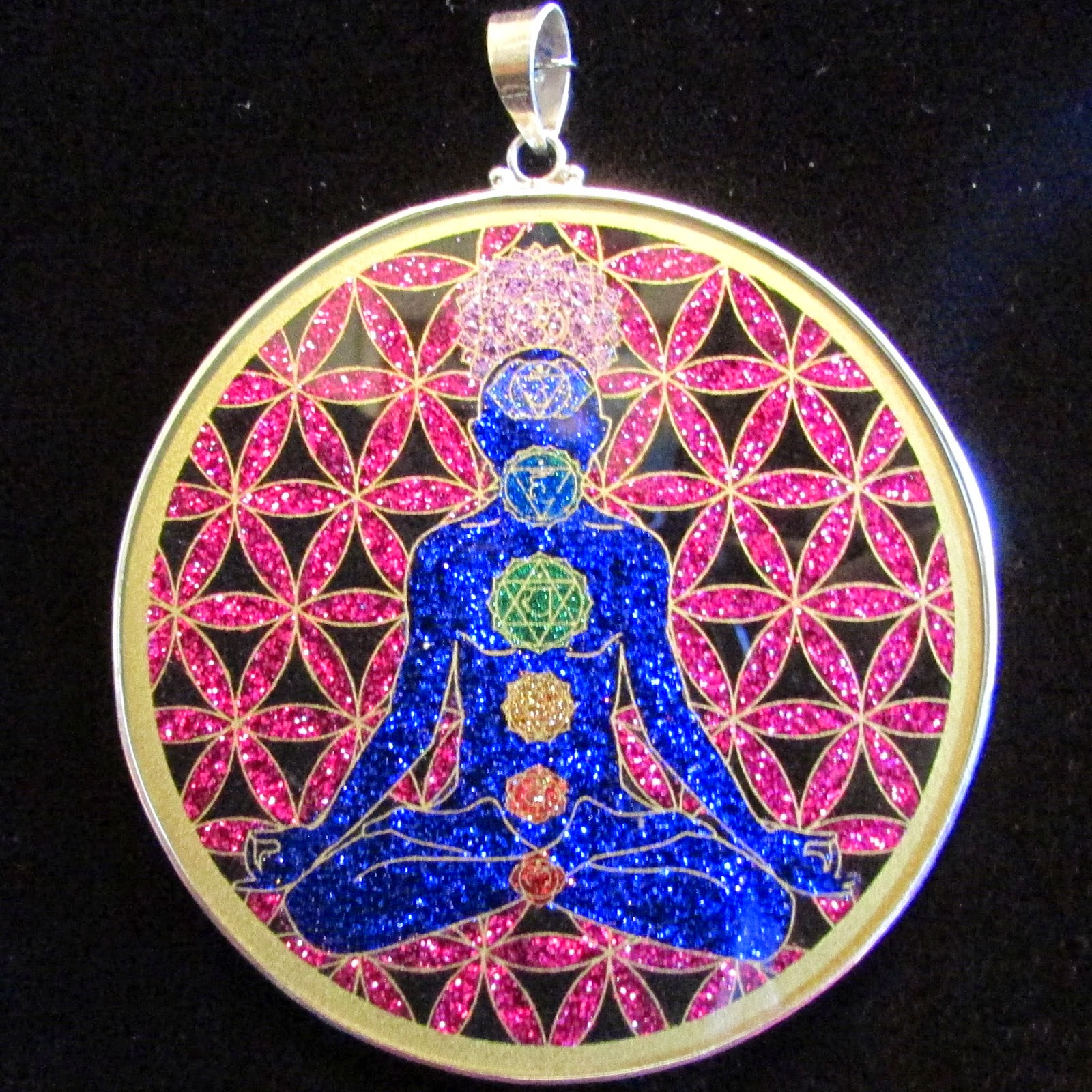 Sacred geometry pendants pendant store these extra large 3 inch pendants are available in the following designs chakra man flower of life merkaba in flower of life metatrons cube mozeypictures Gallery