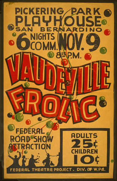 federal theater, theater, wpa, federal art project, vintage, vintage posters, graphic design, free download, retro prints, classic posters, Vaudeville Frolic - Vintage Federal Theater WPA Poster