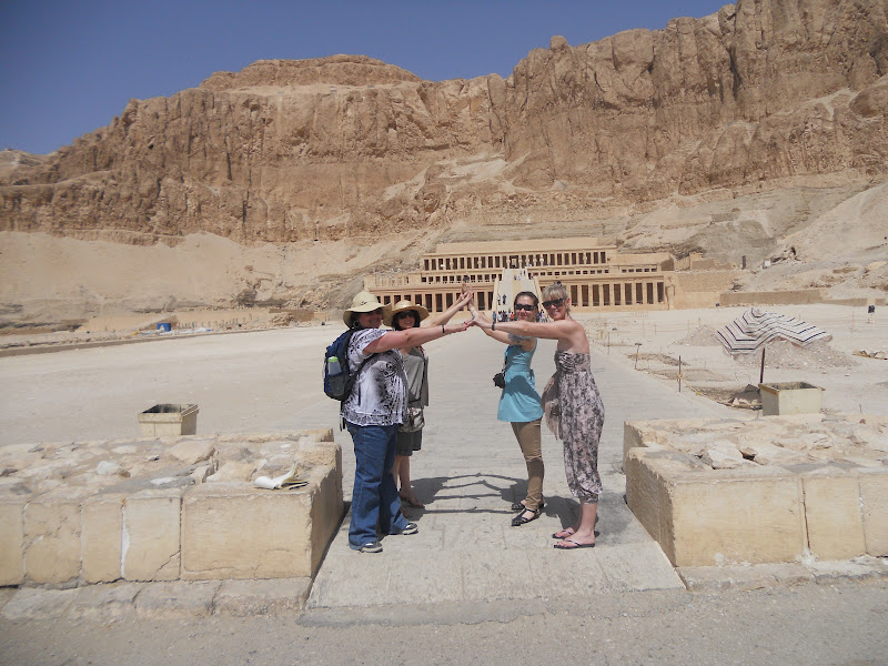 Posing in front of Queen Hatshepsut's Temple