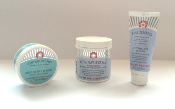 First Aid Beauty Face Product Review Ultra repair cream, facial radiance pads and face cleanser