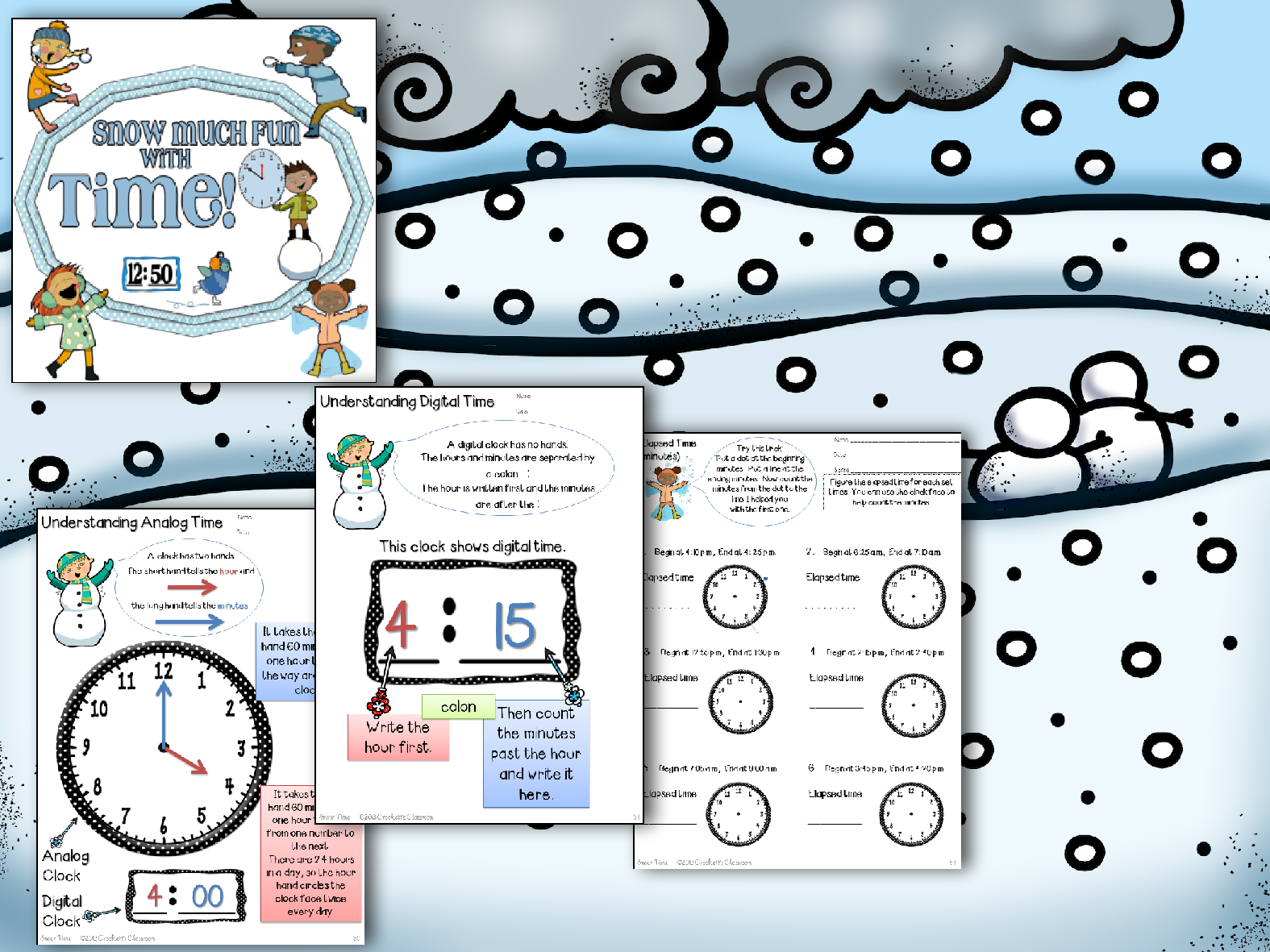 What a fun way to learn about time, So many activities and practice pages.