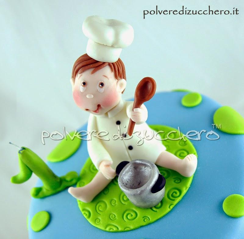 torta decorata 1 compleanno bimbo cuoco polvere di zucchero