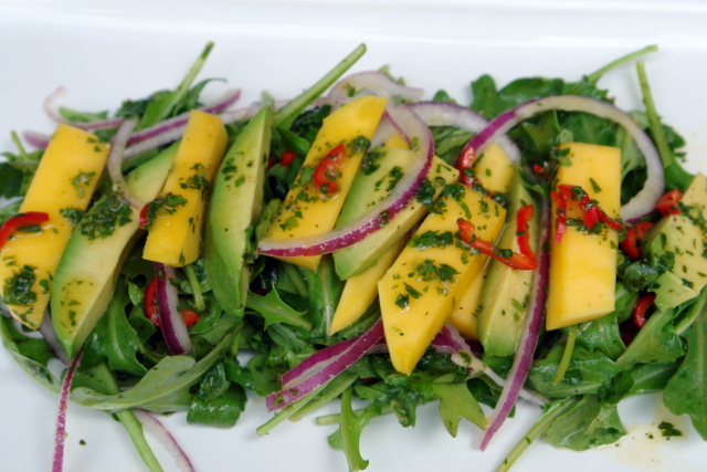 avocado mango and arugula salad 6 cups arugula leaves 1 mango peeled ...
