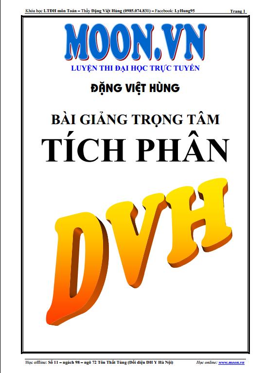 Bài giảng trọng tâm tích phân-Đặng Việt Hùng