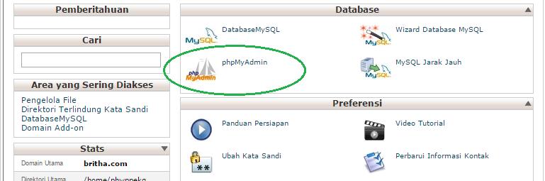 cara mencari link phpmyadmin, bagaimana cara membuka cpanel
