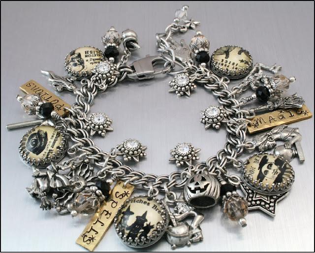 halloween charm bracelet, halloween jewelry, witch charms, handmade charm bracelet, ghost charms, pumpkin jewelry