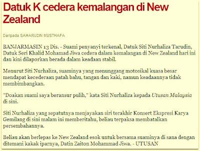 Datuk K, Suami Dato' Siti Nurhaliza Cedera Kemalangan di New Zealand