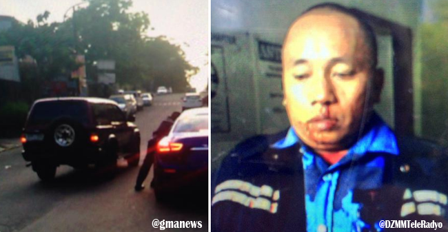 Viral MMDA Traffic Enforcer Dragged by Blue Maserati Sports Car