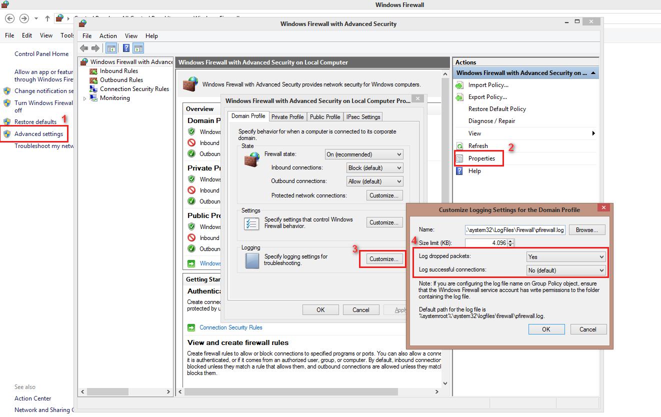 Monitoring Firewall Windows 7+
