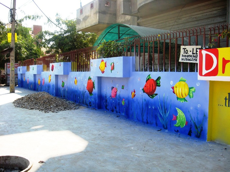 Play school wall painting 3d cartoon painting school for Best paint for outdoor mural