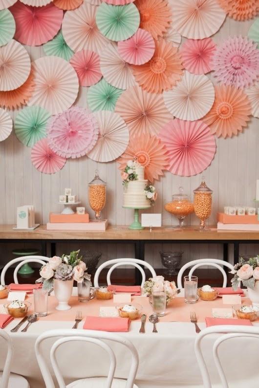 rosettes paper fans backdrop