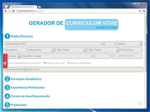 Gerador de Curriculum Vitae