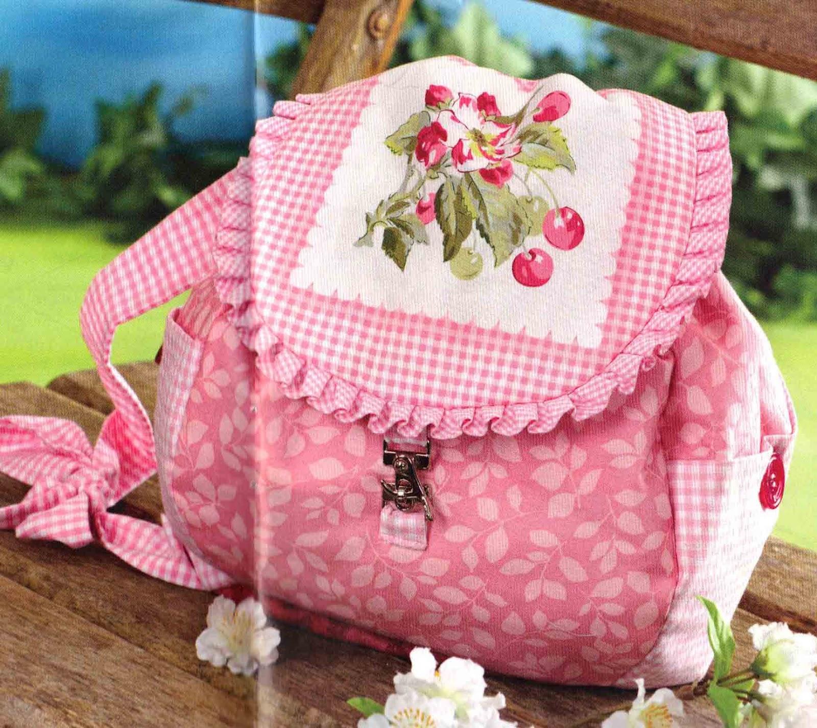 Ulla's Quilt World: Quilted back bag, applique