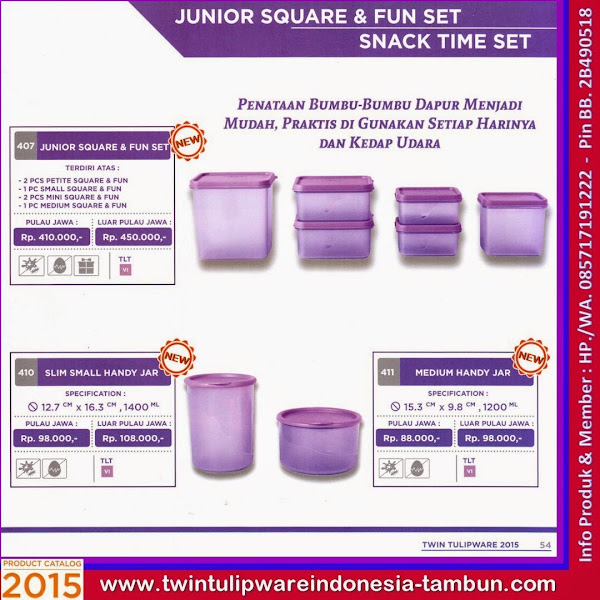 Tulip New 2015, Junior Square & Fun Set, Slim Small Handy Jar, Medium Handy Jar