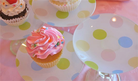 polka dot cake stands-pastel cake stands-tiered pastry stands-Tea pastries-baby shower-candy buffet-candy station